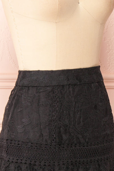 Knauttia Black Floral Embroidered Mesh Skirt | Boutique 1861 side close-up
