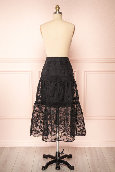Knauttia Black Floral Embroidered Mesh Skirt | Boutique 1861 back view