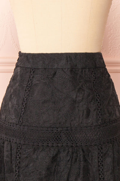 Knauttia Black Floral Embroidered Mesh Skirt | Boutique 1861 back close-up