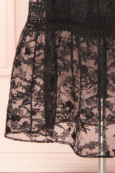 Knauttia Black Floral Embroidered Mesh Skirt | Boutique 1861 bottom