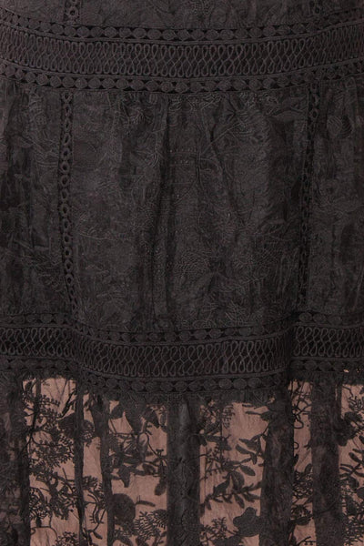 Knauttia Black Floral Embroidered Mesh Skirt | Boutique 1861 fabric