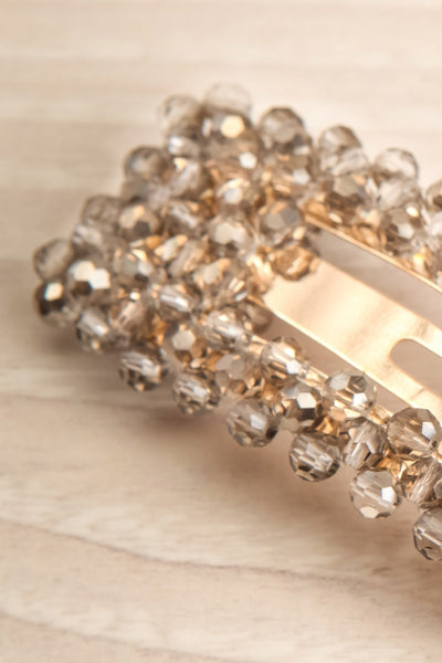Kogalym Golden Barrette with Grey Beads close-up | Boutique 1861