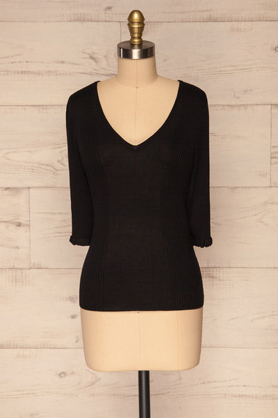Kolno Black Ribbed Top w/ Half-Sleeves front view  | La petite garçonne