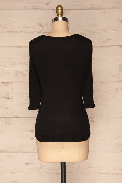 Kolno Black Ribbed Top w/ Half-Sleeves back view | La petite garçonne