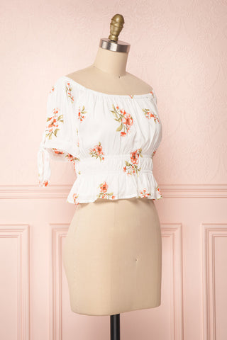 Konan White Floral Off-Shoulder Crop Top | Boutique 1861 4