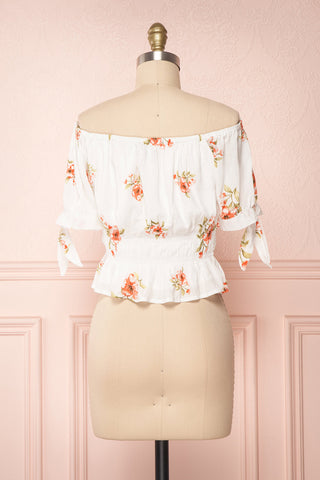 Konan White Floral Off-Shoulder Crop Top | Boutique 1861 6