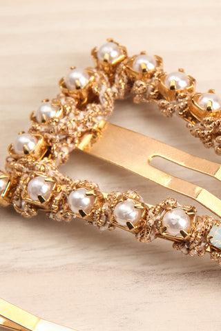 Koniecpol Set of Golden Barrettes w/ Pearls close-up | La Petite Garçonne