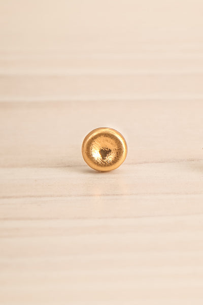 Koppelo Gold Filled Circular Stud Earrings close-up | La Petite Garçonne