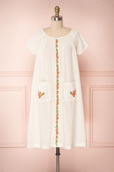Kourou Cream Midi Tunic Dress with Embroidery | Boutique 1861