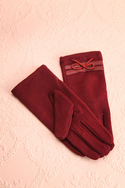Kramatorsk Burgundy Faux-Fur Lined Gloves with Bow | Boutique 1861 1