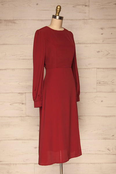 Krzywin Burgundy Dress | Robe Bourgogne side view | La Petite Garçonne