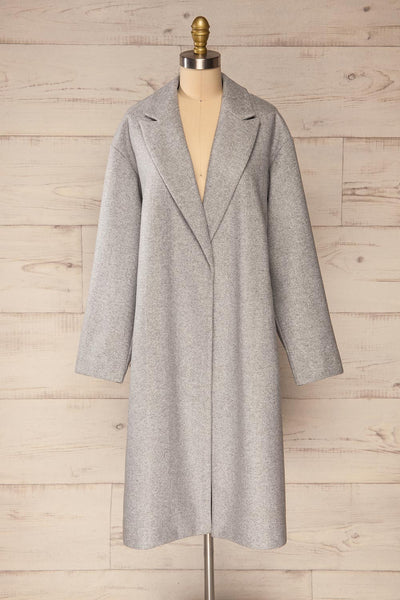 Krzyz Grey Open Felt Coat with Belt | La petite garçonne open view