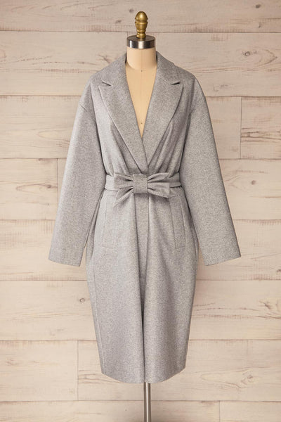 Krzyz Grey Open Felt Coat with Belt | La petite garçonne front view