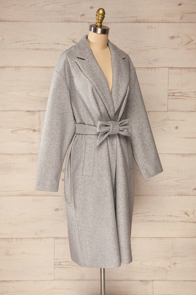Krzyz Grey Open Felt Coat with Belt | La petite garçonne side view