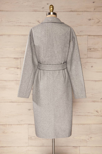 Krzyz Grey Open Felt Coat with Belt | La petite garçonne back view