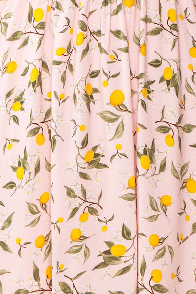 Kudowa Pink Lemon Print Flared Short Dress fabric | Boutique 1861