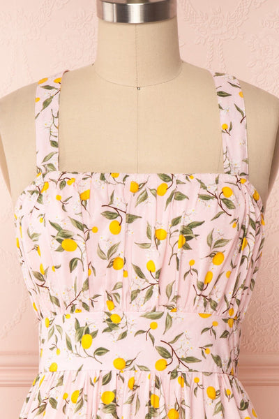 Kudowa Pink Lemon Print Flared Short Dress front close up | Boutique 1861
