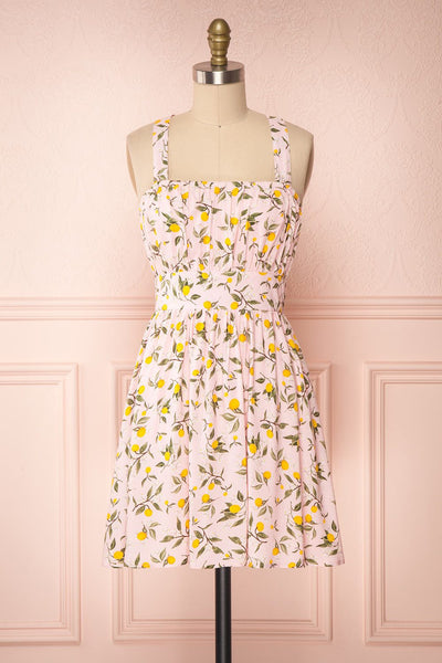 Kudowa Pink Lemon Print Flared Short Dress front view | Boutique 1861