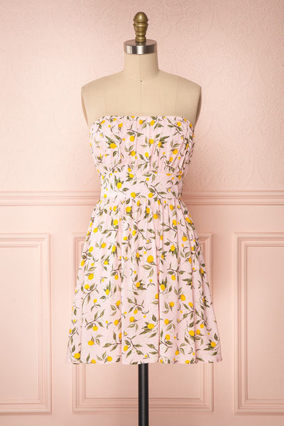Kudowa Pink Lemon Print Flared Short Dress front view no strap | Boutique 1861