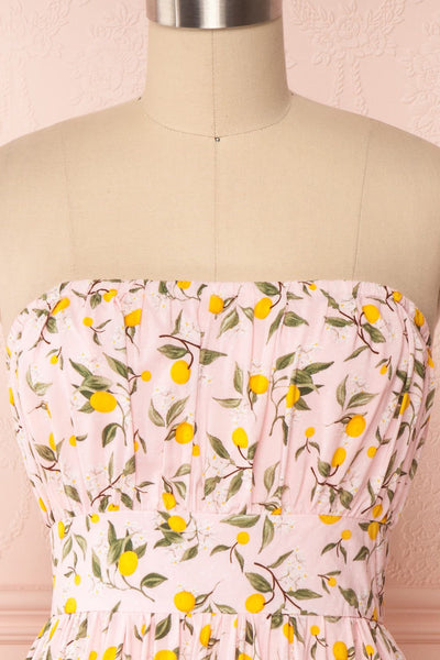 Kudowa Pink Lemon Print Flared Short Dress front close up no strap | Boutique 1861