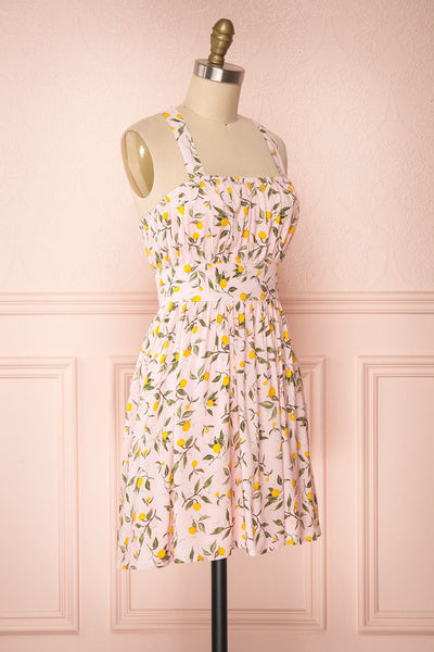 Kudowa Pink Lemon Print Flared Short Dress side view | Boutique 1861