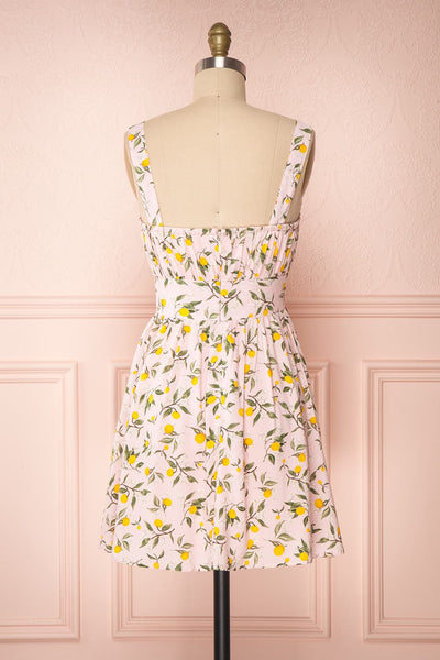 Kudowa Pink Lemon Print Flared Short Dress back view | Boutique 1861