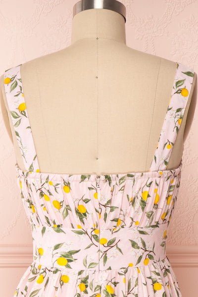 Kudowa Pink Lemon Print Flared Short Dress back close up | Boutique 1861