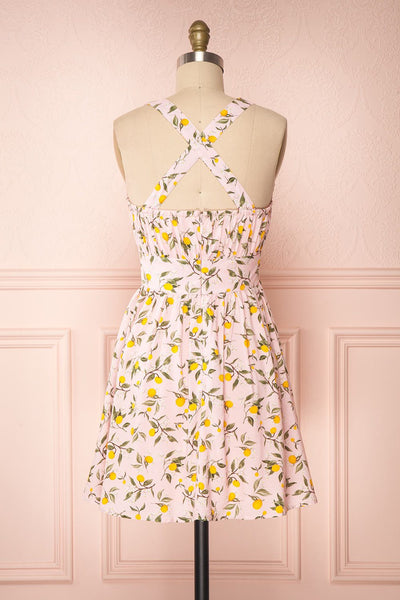 Kudowa Pink Lemon Print Flared Short Dress back view cross | Boutique 1861