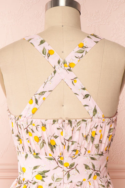 Kudowa Pink Lemon Print Flared Short Dress back close up cross | Boutique 1861