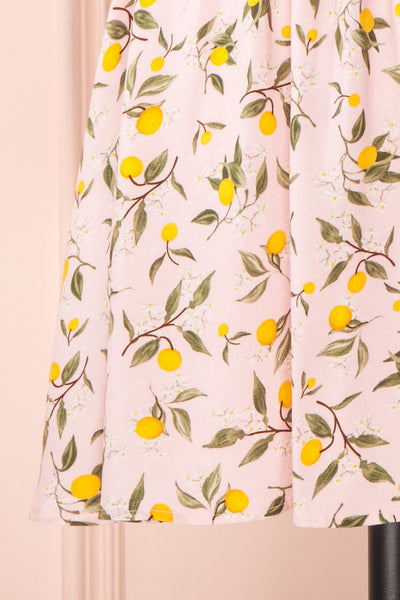 Kudowa Pink Lemon Print Flared Short Dress skirt | Boutique 1861