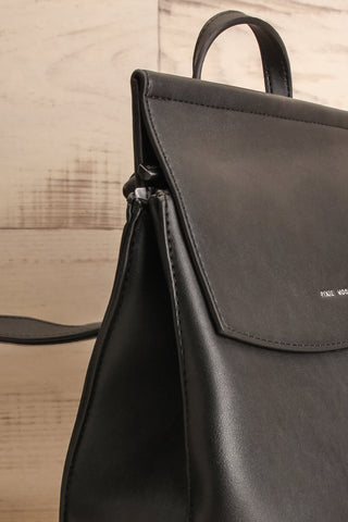 Kyym Black Pixie Mood Faux-Leather Backpack side close-up | La Petite Garçonne