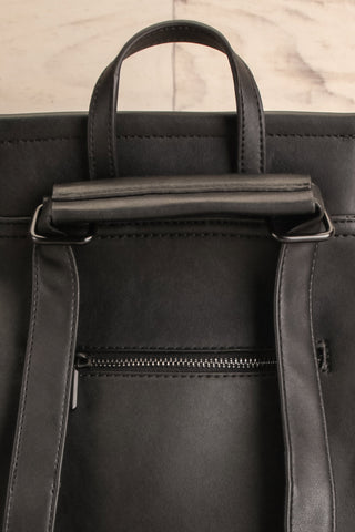 Kyym Black Pixie Mood Faux-Leather Backpack back close-up | La Petite Garçonne