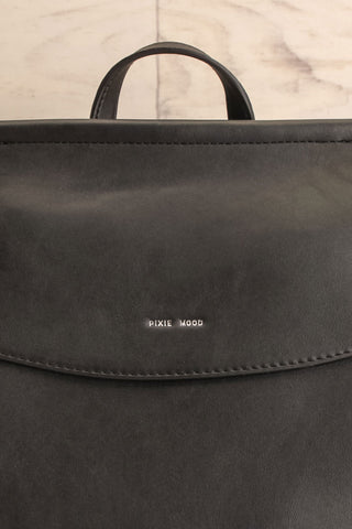 Kyym Black Pixie Mood Faux-Leather Backpack front close-up | La Petite Garçonne