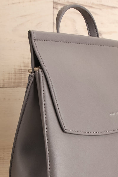 Kyym Grey Pixie Mood Faux-Leather Backpack side close-up | La Petite Garçonne