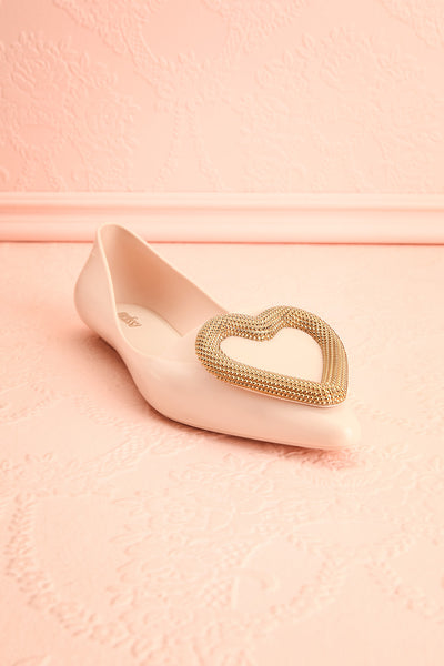 Lacaze Beige Slip-On Loafers with Heart front view | Boutique 1861