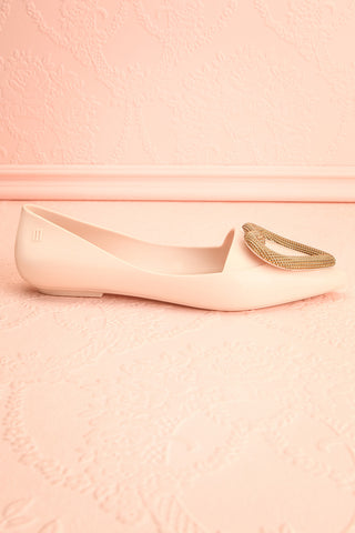 Lacaze Beige Slip-On Loafers with Heart side view | Boutique 1861