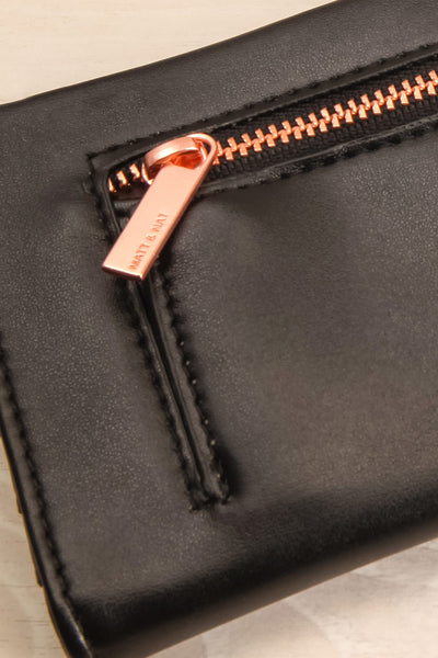 Laf Black Vegan Leather Wallet | La petite garçonne back close-up