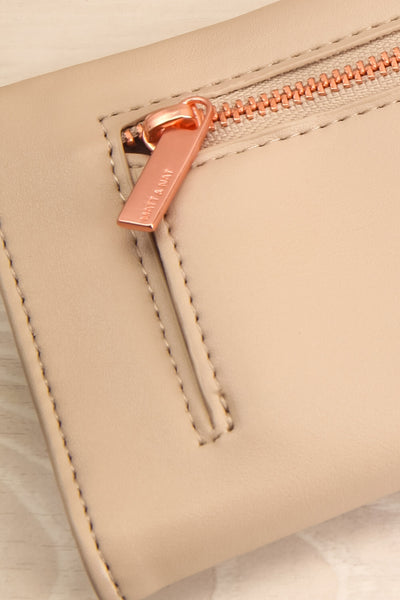 Laf Taupe Vegan Leather Wallet | La petite garçonne back close-up