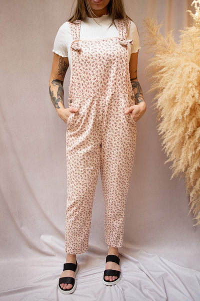 Lagoena Pink Patterned Straight Leg Overalls | Boutique 1861 on model