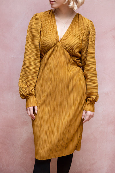 Lamia Mustard Pleated Puffy Long Sleeve Dress | La petite garçonne model