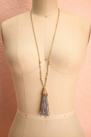 Lantana - Long grey pompom pendant necklace