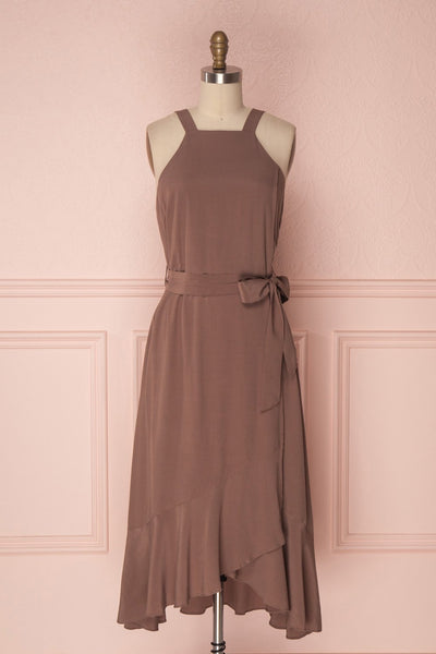 Laurena Mocha Brown Ruffled Hem Flared Dress | Boudoir 1861