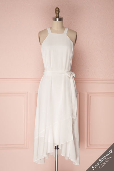 Laurena Vanilla White Ruffled Hem Flared Dress | Boudoir 1861