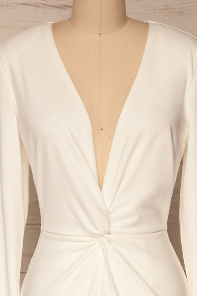 Laurine White Party Dress | Robe Blanche | La Petite Garçonne front close-up