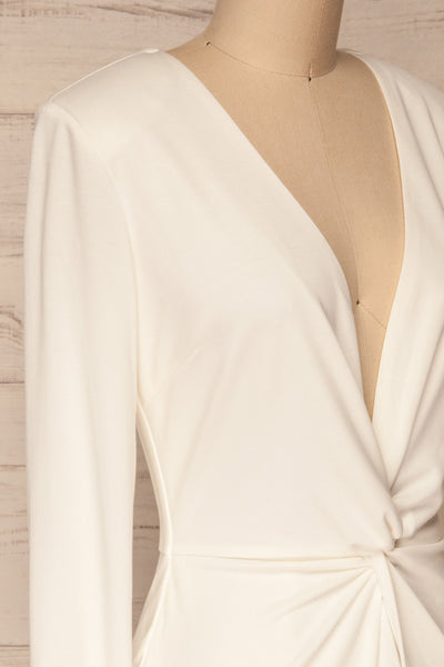 Laurine White Party Dress | Robe Blanche | La Petite Garçonne side close-up