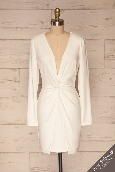 Laurine White Party Dress | Robe Blanche | La Petite Garçonne front view