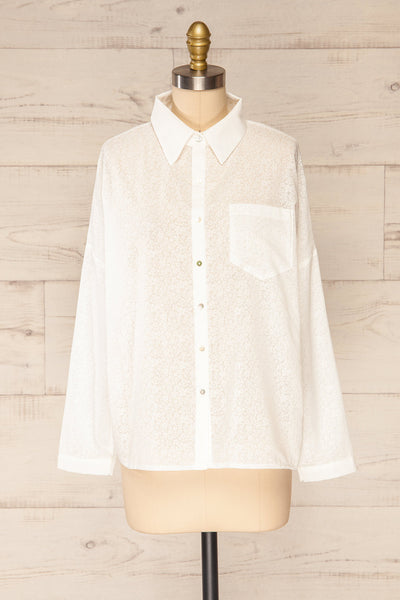 Lecce White Floral Long Sleeves Shirt | La petite garçonne front view