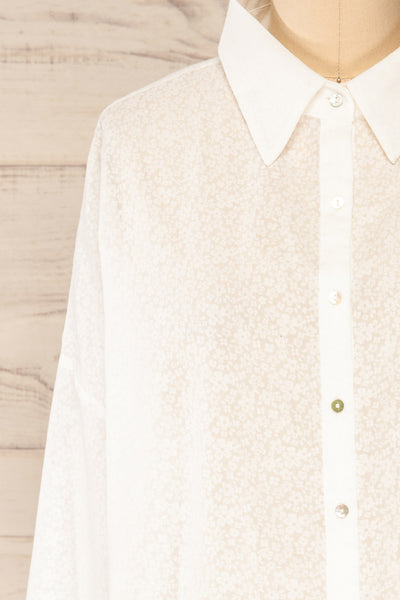 Lecce White Floral Long Sleeves Shirt | La petite garçonne front close-up