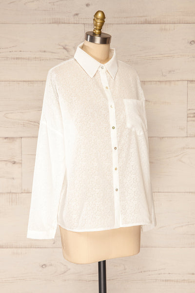 Lecce White Floral Long Sleeves Shirt | La petite garçonne side view