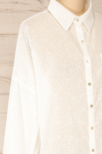 Lecce White Floral Long Sleeves Shirt | La petite garçonne side close-up